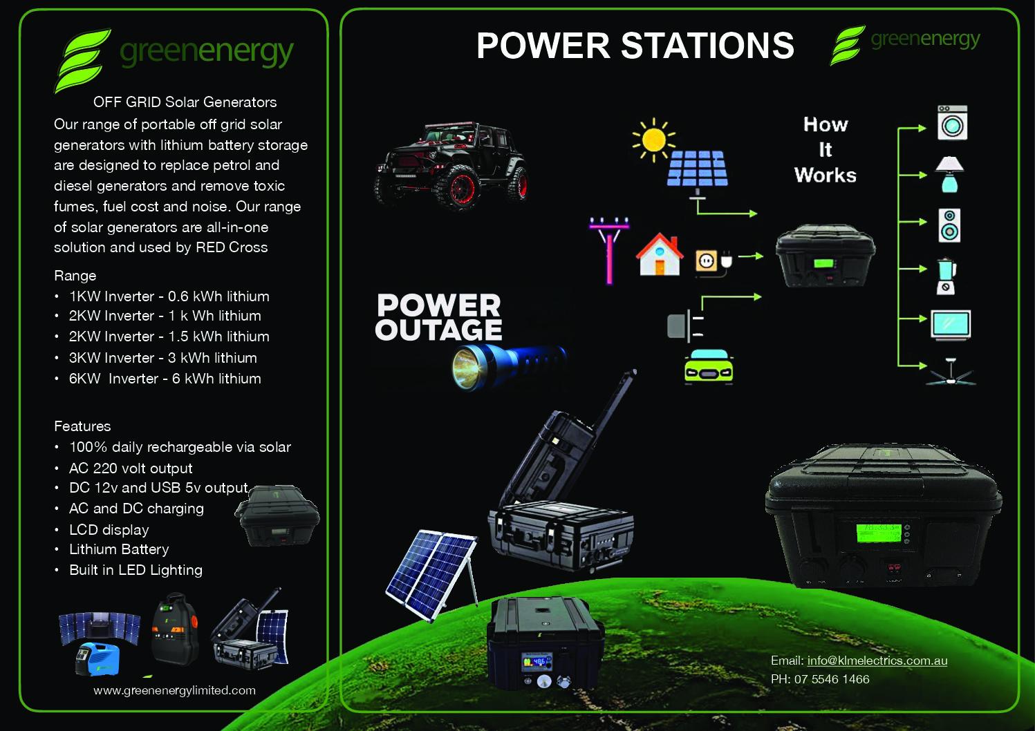 Off Grid Solar Generators 1-2KW 90AH Lithium Battery
